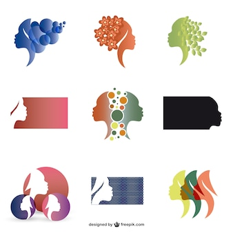 Woman profie silhouette logos set