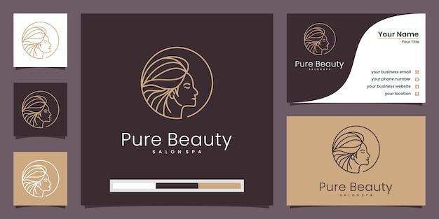 女性のプロフィール、純粋な美しさのロゴと名刺
