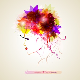 Woman profile with colorful flowers in the hair