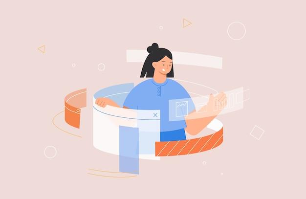 Женщина-программист или дизайнер, работающая в программе