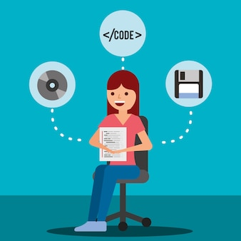 Woman programmer sit with page program coding