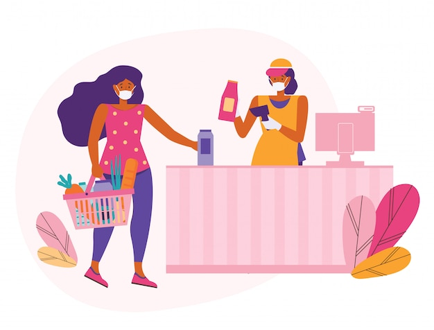 Woman in a protective medical mask buys food in a supermarket. seller at the checkout with barcode scanner. keep a safe distance in the store. customer puts their purchases at the checkout for payment