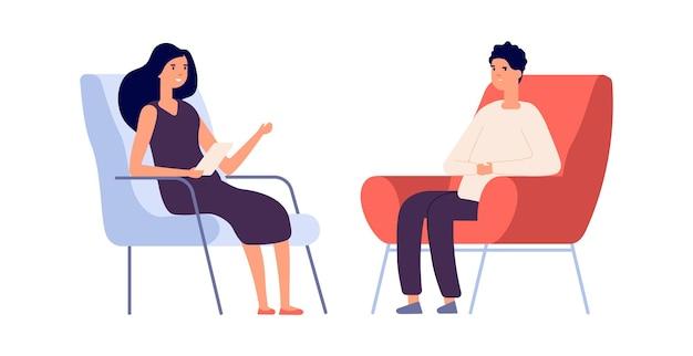 여성 심리학자. 커플 플랫 남자 여자의 자에 앉아입니다. 심리 치료 세션 또는 심리 상담. 슬픈 좌절된 남자 벡터입니다. 심리학자 여자, 정신과 의사 및 환자 그림