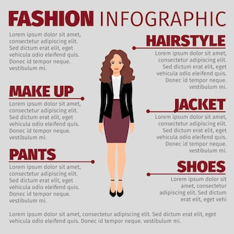 Woman in purple skirt fashion infographic template