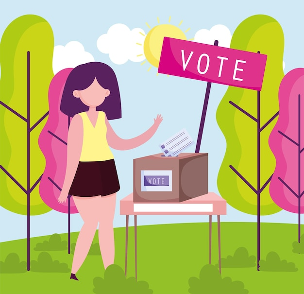 Woman push ballot in box