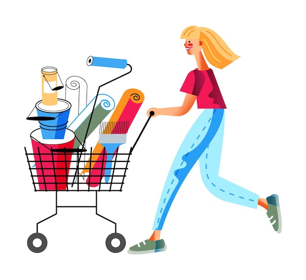 Woman push cart and shopping in hardware store girl buys wallpaper rolls paint and tools for painting walls