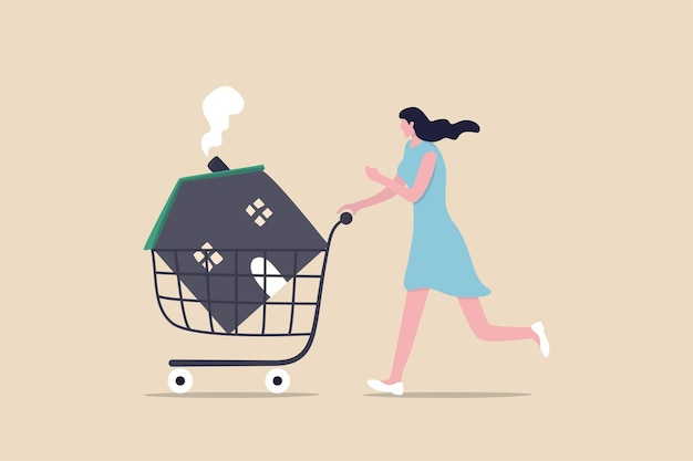 Woman pushing new house inside shopping cart trolley