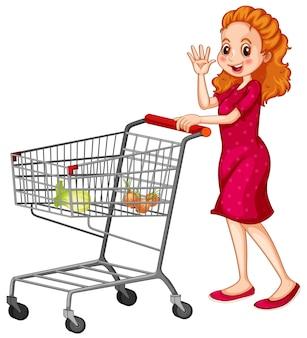 白い背景の上のショッピングカートを押す女性