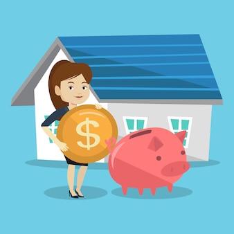 女性は家を買うために貯金箱にお金を入れます。