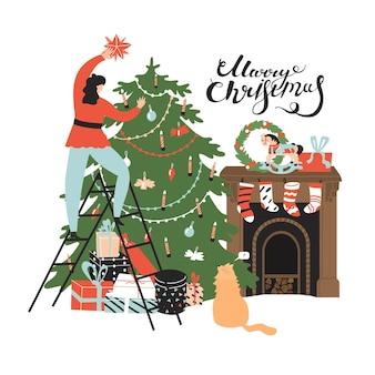 Женщина кладет звезду на верхнюю елку. с новым годом, с рождеством. плоский стиль в векторной иллюстрации. изолированные на белом фоне. кот ищет женщину на лестнице. камин с житницей