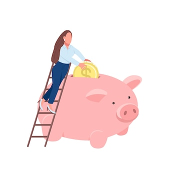 Woman putting coin in piggy bank flat concept illustration