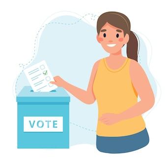 Женщина ставит голос в урну для голосования