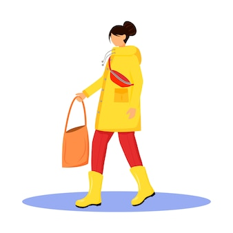 Woman in raincoat  character