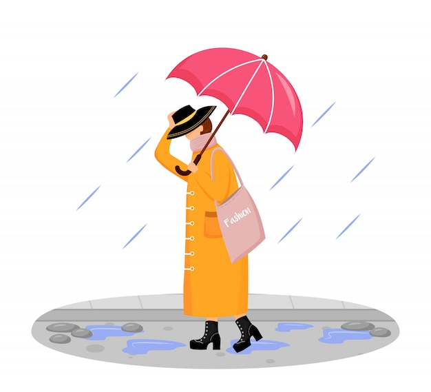 Woman in raincoat  color  faceless character. walking caucasian lady in hat. rainy day. fashionable madam on heels. female with umbrella isolated cartoon illustration on white background