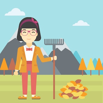 Woman raking autumn leaves vector illustration.