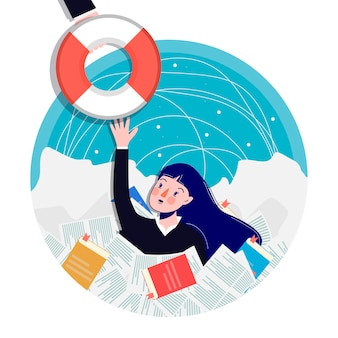 The woman reaches for the life preserver. cartoon . business illustration.