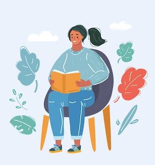 여자는 의자에 책을 읽고