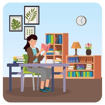 Женщина, читающая книгу в помещении иллюстрация