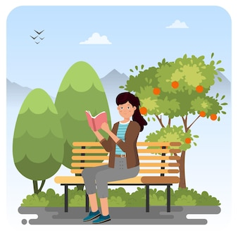 庭の屋内イラストで読む女性