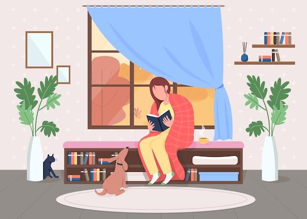 自宅で読む女性フラットカラーイラスト