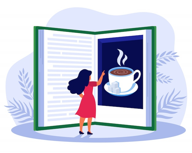 Женщина читает книгу о кофе