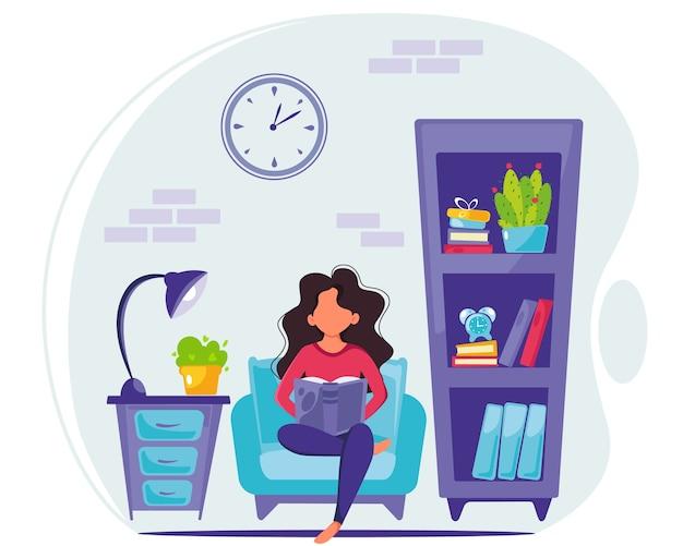 家で本を読んでいる女性。家にいるコンセプト。モダンな室内。フラットスタイルのイラスト。