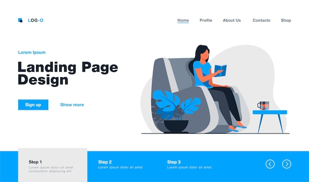 Woman reading book at home landing page template Premium Vector