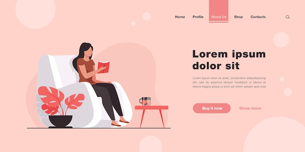 Woman reading book at home. student girl sitting in armchair with cup of tea and textbook. landing page in flat style