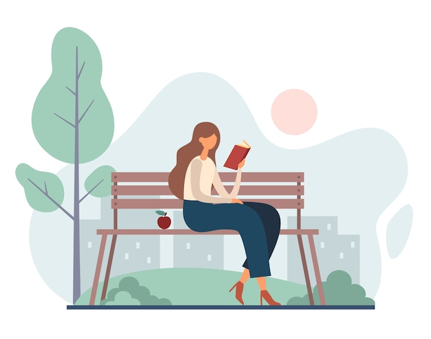 Woman reading book in park.   cartoon illustration