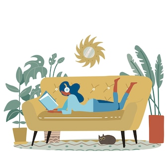 Woman reading a book or studying lying on the yellow modern sofa, small cat sleeps nearby. flat cartoon illustration