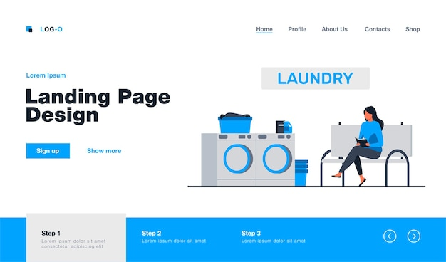 Woman reading book and waiting for her laundry landing page template