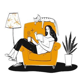 The woman reading a book