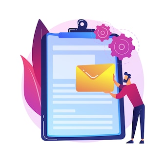 Woman reading business agreement. special offer. contract on clipboard. deal arrangement, terms of use. document studying, paper form.  isolated concept metaphor illustration