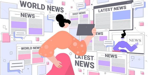 Woman reading daily news on tablet pc illustration