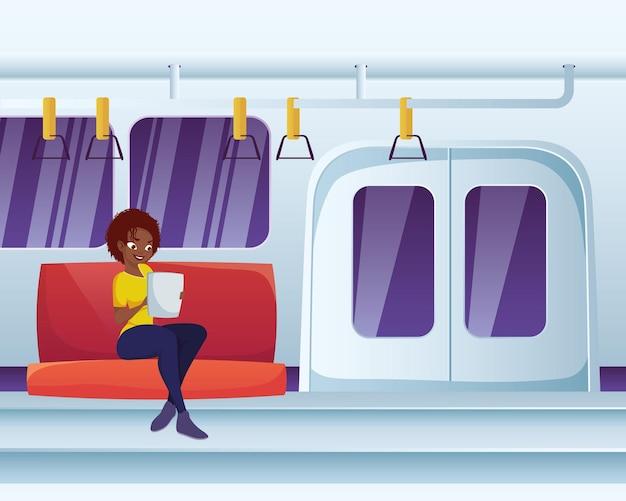 地下鉄で読書をする女性