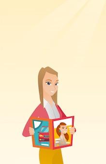Woman reading magazine vector illustration.