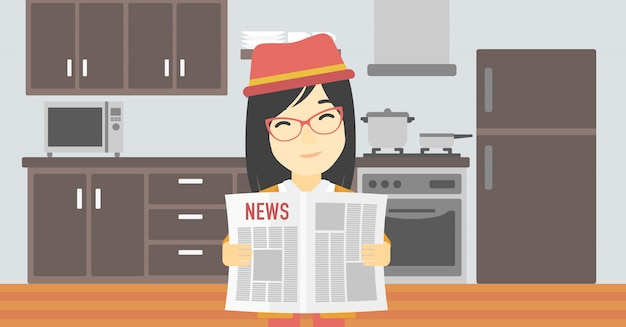 Woman reading newspaper vector illustration.