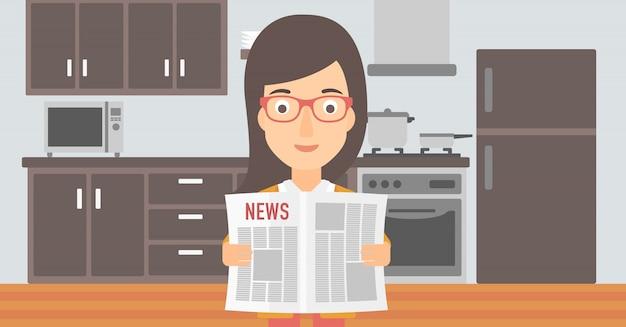 Женщина читает газету.