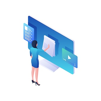 Woman reading online news and watching video isometric illustration. female character flips through white event bulletins and browses web content. modern social media and resources  concept.