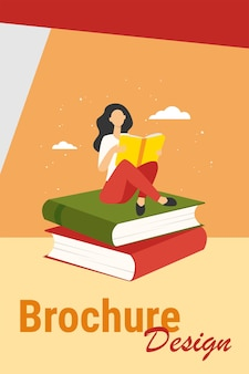 Woman reading on stack of books. student girl doing homework flat vector illustration. education, literature, library, knowledge concept