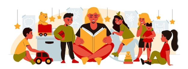 Donna che legge una favola ai bambini