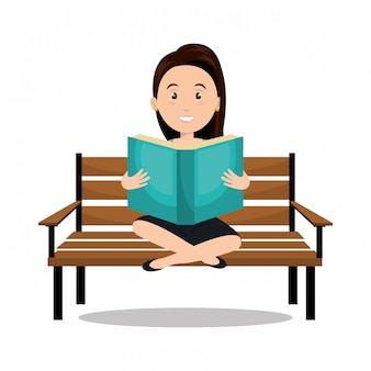 Woman reading textbook icon