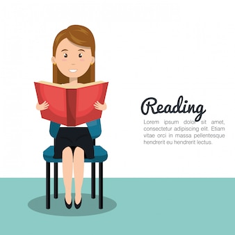 Woman reading textbook r icon