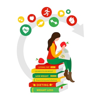 Woman reads books for weight loss and eats apples girl sitting on the diet
