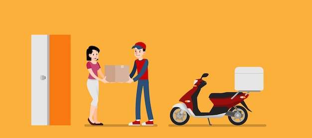 Woman receive a  goods delivery service from sender.