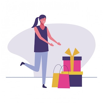 Woman receiving birthday gifts