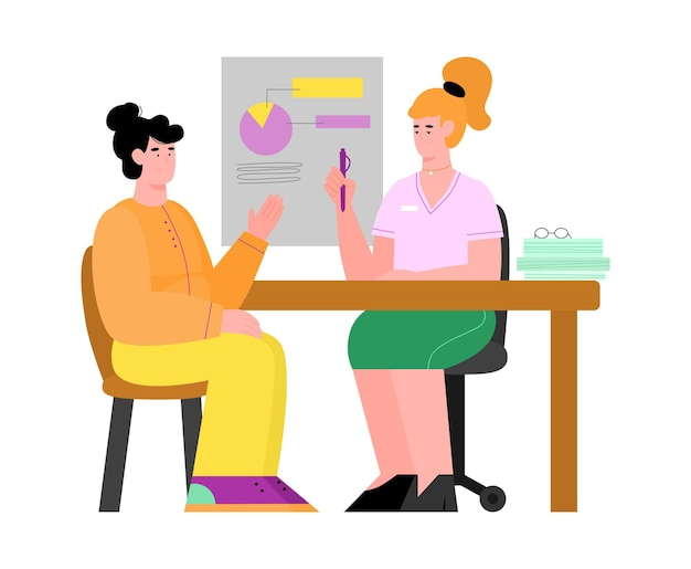 Woman receiving consultation from specialist flat illustration