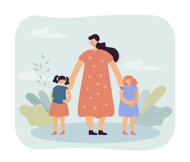 Woman reconciling children illustration