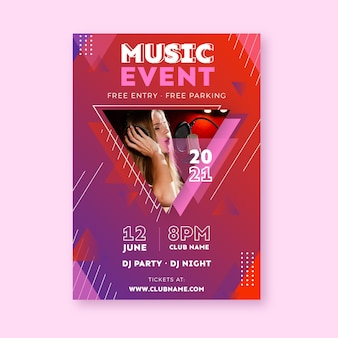 Woman recording music event poster template
