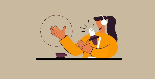Woman recording podcast. concept illustration. podcaster speaking in microphone at the desk.